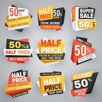 Etiquetas de venta a mitad de precio. descuento especial de oferta de fin de semana, 50 banners de descuento y colección de cupones
