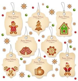 Etiquetas de venta de navidad con elementos navideños sobre un fondo blanco.