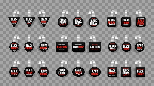 Etiquetas de venta negras wobblers con texto vector descuento pegatina oferta especial precio plástico banner