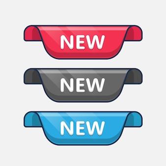 Etiquetas de venta de nueva colección. cintas de desplazamiento