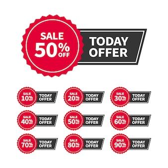 Etiquetas de venta o pancartas con texto oferta de hoy