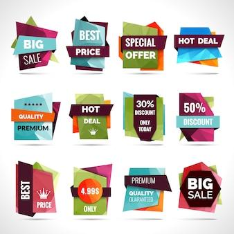 Etiquetas de venta de origami