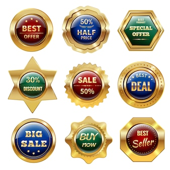 Etiquetas de venta de oro