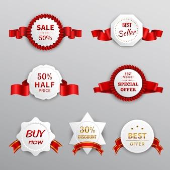 Etiquetas de venta de papel rojo