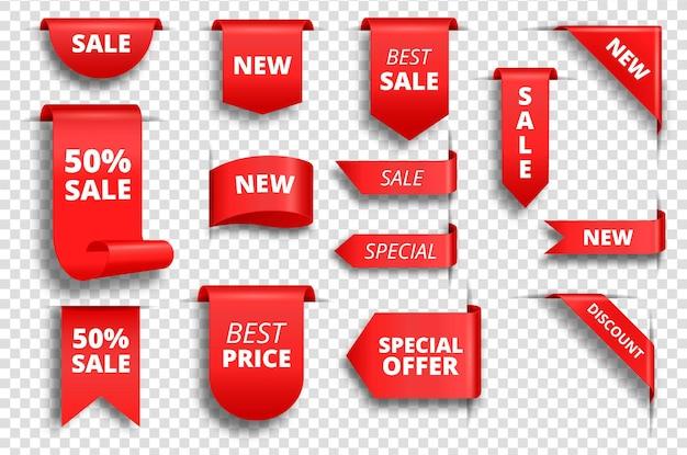 Etiquetas de venta rojas banner de promoción etiqueta de precio especial conjunto de vector de etiqueta de oferta exclusiva