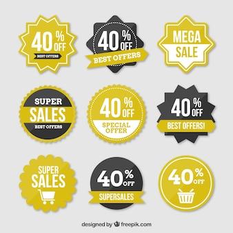 Etiquetas de la venta con la venta del 40 por ciento de texto
