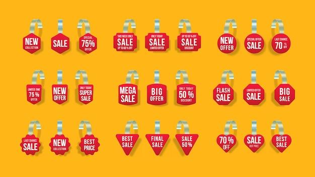 Etiquetas de ventas rojas wobblers con texto vector descuento pegatina oferta especial precio plástico banner