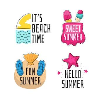 Etiquetas de verano dibujadas a mano
