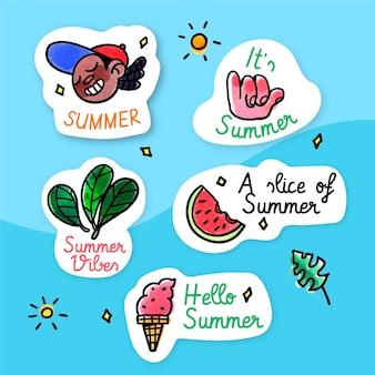 Etiquetas de verano de diseño acuarela