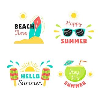 Etiquetas de verano en diseño plano