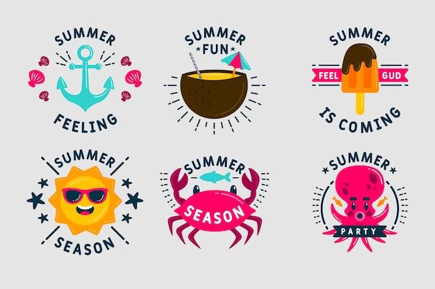 Etiquetas de verano dulces y criaturas submarinas
