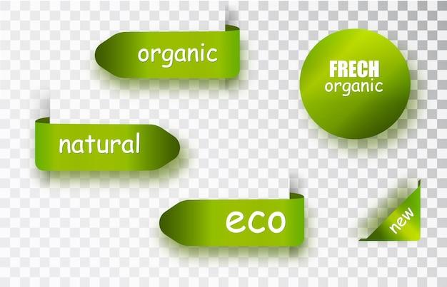 Etiquetas verdes. colección con etiquetas ecológicas y etiquetas y adhesivos. ilustración vectorial.
