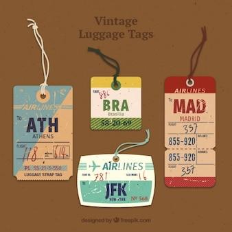 Etiquetas de viaje vintage con cuerda
