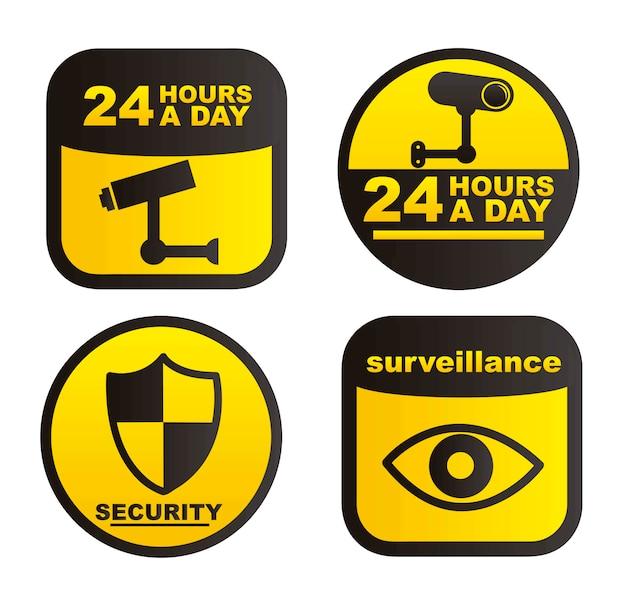 Etiquetas de vigilancia aisladas sobre fondo blanco vector