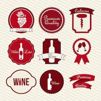 Etiquetas de vino sobre fondo beige ilustración vectorial
