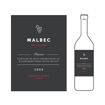 Etiquetas de vino tinto. vector premium