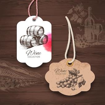 Etiquetas de vino vintage. ilustraciones dibujadas a mano. fondo de madera con bocetos