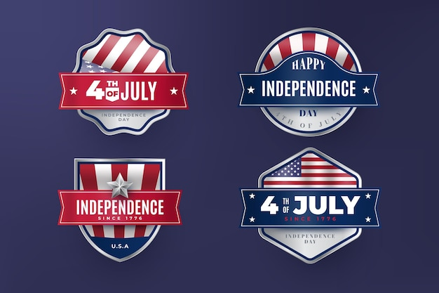 Etiquetas vintage 4 de julio día de la independencia