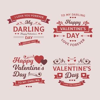 Etiquetas vintage de san valentín