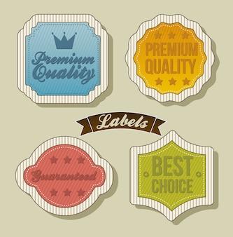 Etiquetas vintage sobre fondo beige ilustración vectorial