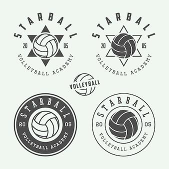 Etiquetas de voleibol, emblemas, logotipo.