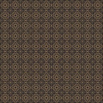 Étnico batik flores geométricas sin fisuras de fondo en el clásico estilo vintage oro