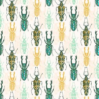 Étnico tribal de patrones sin fisuras con los insectos. impresión de hipster de vector. diseño de tela de moda