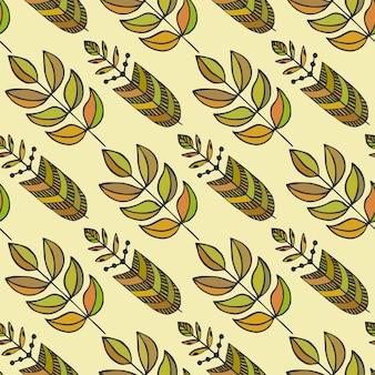 Étnicos de patrones sin fisuras con hojas estilizadas coloridas ornamentales. textura sin fin, plantilla para tela, textil