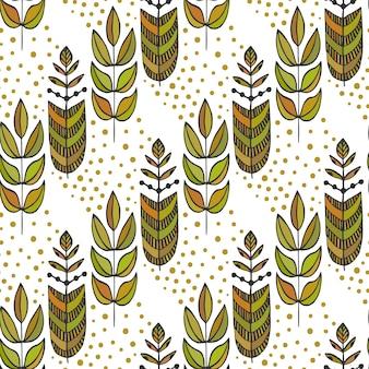 Étnicos de patrones sin fisuras con ornamental colorido árbol de hojas estilizadas