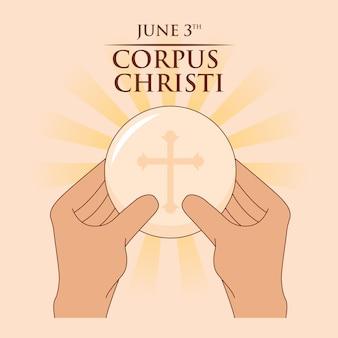 Eucaristía de jesús en manos del sacerdote. tarjeta de corpus christi