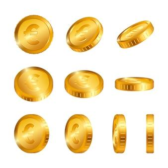 Euro monedas de oro aisladas