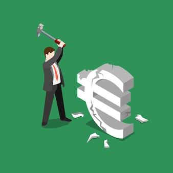 Euro tipo de cambio de moneda caída falla freno plano isométrico