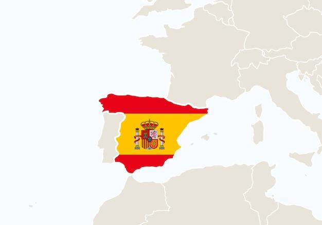 Europa con el mapa de españa resaltado. ilustración de vector.