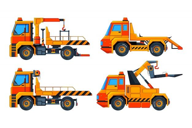 Evacuador de automóviles. varias imágenes vectoriales de transporte