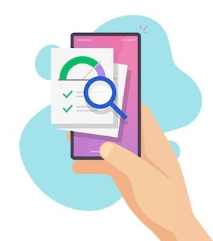 Evaluación de calificación de puntaje de crédito en línea y evaluación de indicador de historial de información financiera en teléfono inteligente teléfono inteligente vector plano