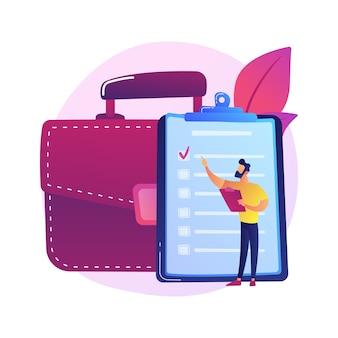Evaluación de documentos. verificación, aprobación, validación. firma de contacto oficial, acuerdo. personaje de dibujos animados de empresaria con maletín