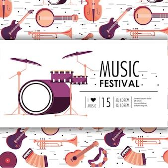 Evento de batería e instrumentos para festival de música.