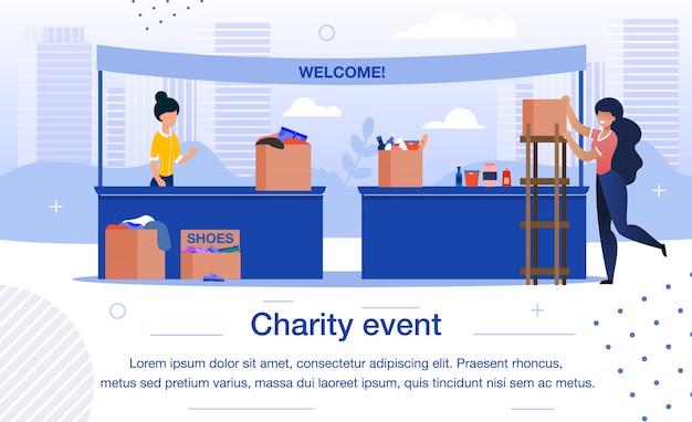Evento de caridad o plantilla de banner plano justo