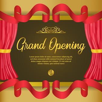 Evento de cartel de gran inauguración con cinta roja y cortina roja