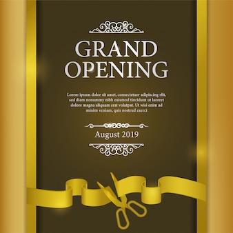 Evento de cartel de gran inauguración con corte de cinta dorada