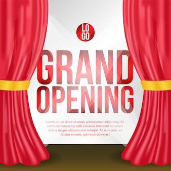 Evento de cartel de gran inauguración con cortina roja en el escenario