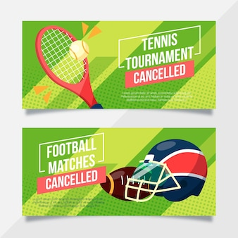 Evento deportivo cancelado plantilla de banners
