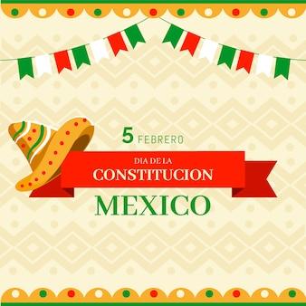 Evento del día de la constitución mexicana dibujado a mano