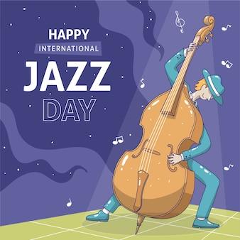 Evento del día internacional del jazz dibujado a mano
