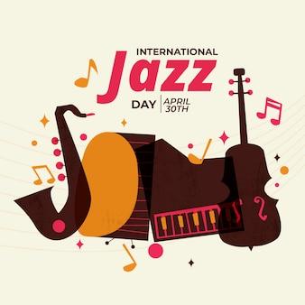 Evento del día internacional del jazz de diseño plano