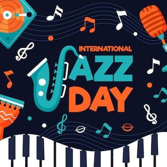 Evento de día internacional de jazz de diseño plano