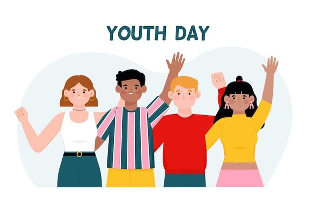 Evento del día de la juventud de diseño dibujado a mano