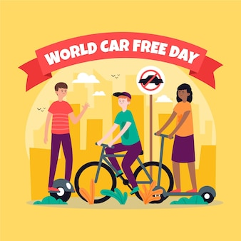 Evento de día libre del automóvil mundial dibujado a mano