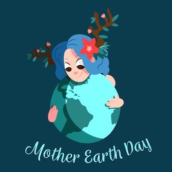 Evento del día de la madre tierra dibujado a mano
