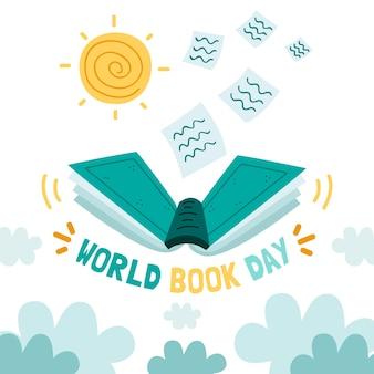 Evento del día mundial del libro dibujado a mano